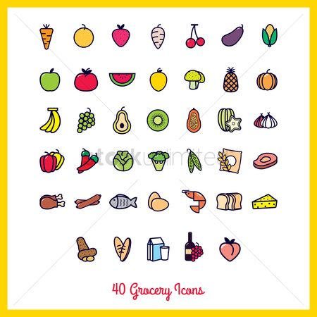Sausage : Collection of grocery icons