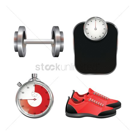 Footwear : Collection of gym equipment