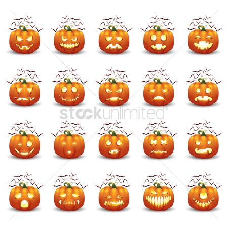 Jack o lantern : Collection of halloween pumpkin and bats
