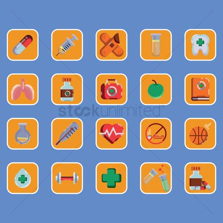 Caution : Collection of health icons