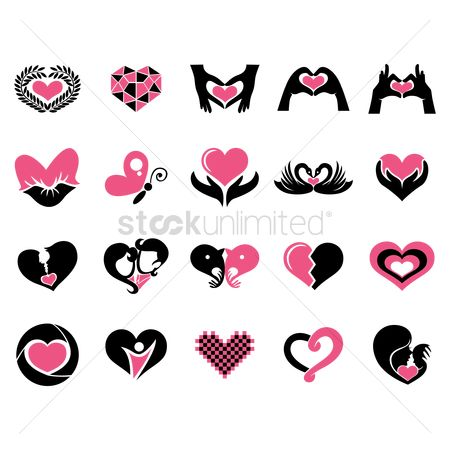 Heart shape : Collection of heart icons
