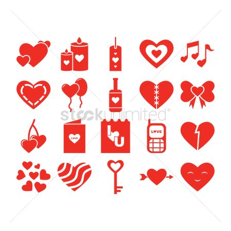 Red wine : Collection of heart shape items
