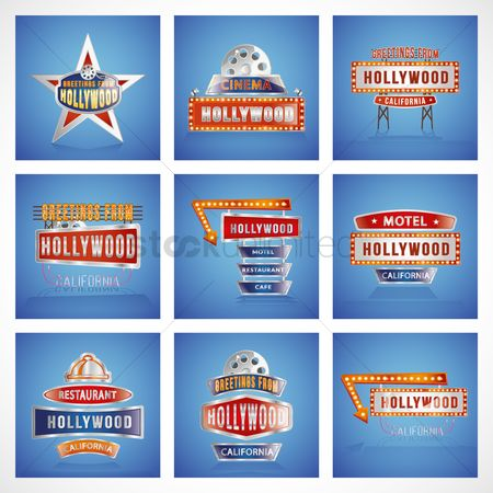 Signages : Collection of hollywood sign board