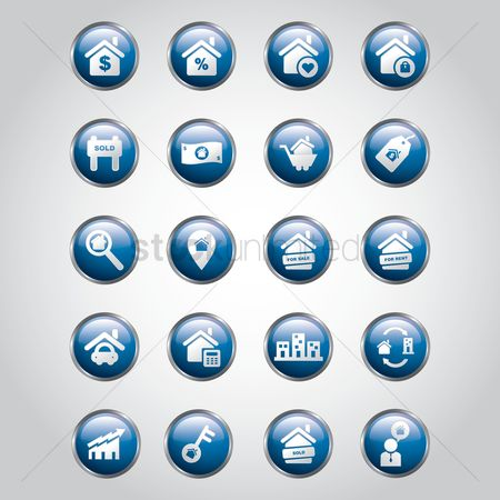 Magnifying : Collection of home icons