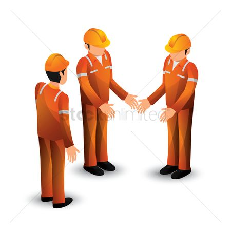 Workers : Collection of isometric construction workers