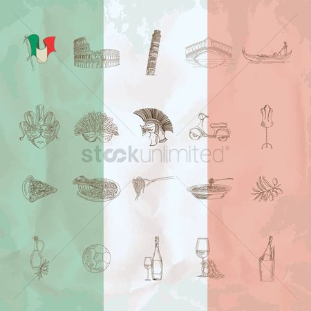 Tricolored : Collection of italy icons