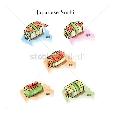 Japanese cuisines : Collection of japanese sushi