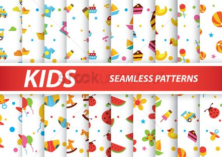 Summer : Collection of kids seamless pattern
