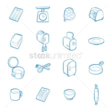 Wooden sign : Collection of kitchen icons
