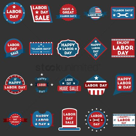 Patriotics : Collection of labor day labels