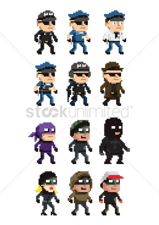 Policemen : Collection of law enforcement and criminal icons