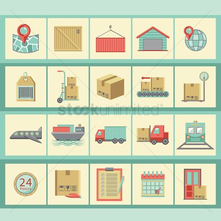 Hand truck : Collection of logistic icons