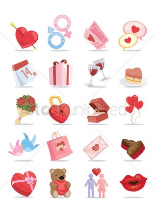 Heart shape : Collection of love items