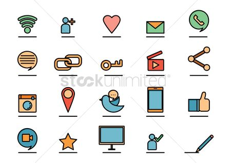 Password : Collection of media icons