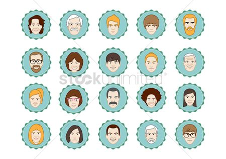 Moustache : Collection of men and women faces