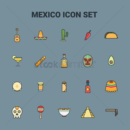 Cactus : Collection of mexico icons