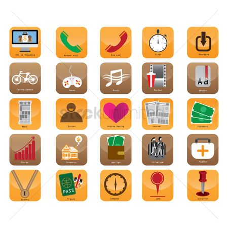 Online dating icon : Collection of mobile app icons