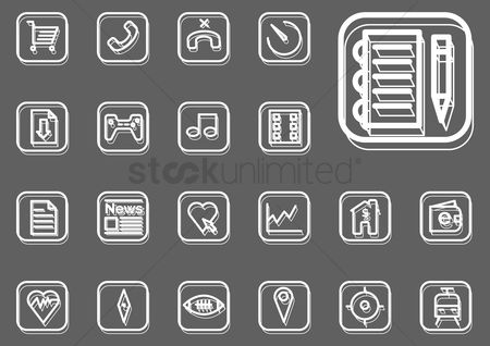 Online dating icon : Collection of mobile application icons
