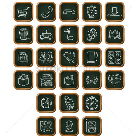 Wooden sign : Collection of mobile application icons