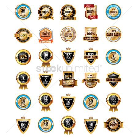 Products : Collection of money back guarantee badges