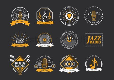 Microphones : Collection of music festival logos