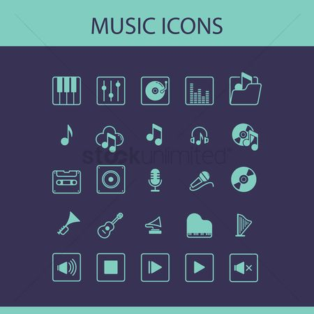 Microphones : Collection of music icons