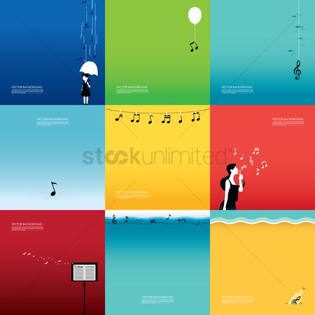 Minimalist : Collection of musical notes on different backgrounds