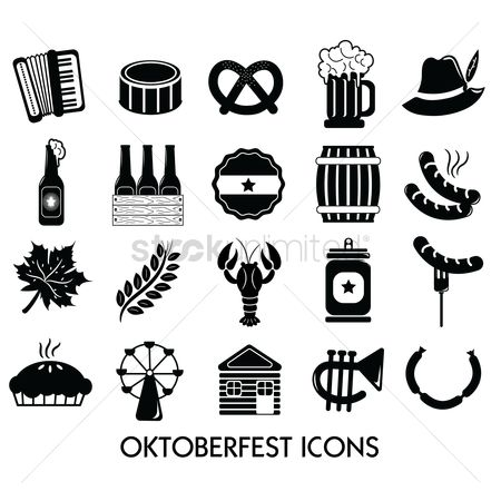Sausage : Collection of oktoberfest icons