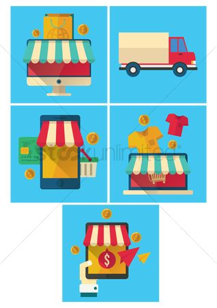 Store : Collection of online shopping icons