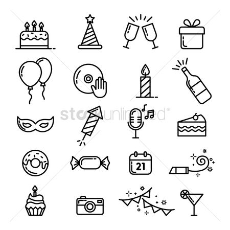 Photography : Collection of party icons