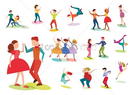Dancing : Collection of people striking dance poses