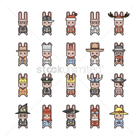 Workers : Collection of rabbit characters