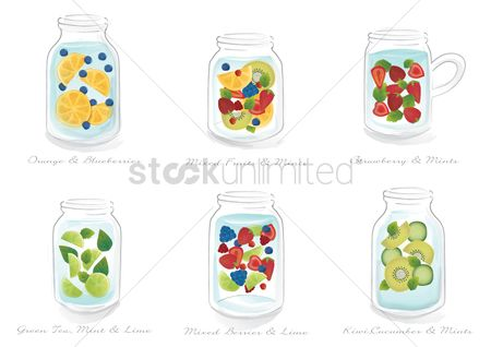 Drinking : Collection of refreshing drinks in a jar