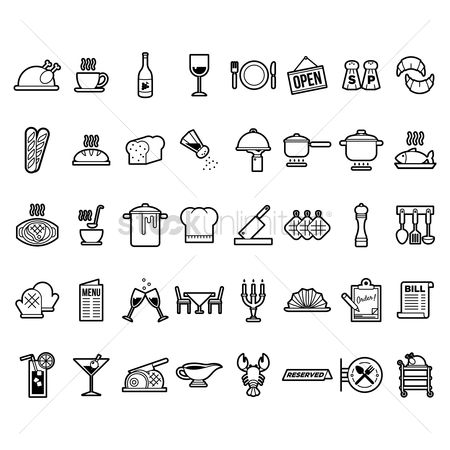 French : Collection of restaurant icons