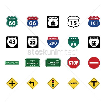 Plus : Collection of road signs