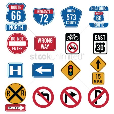 East : Collection of route signs