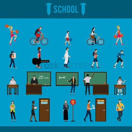 Blackboard : Collection of school characters