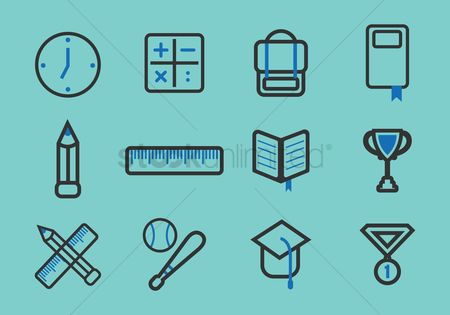 Calculations : Collection of school icons