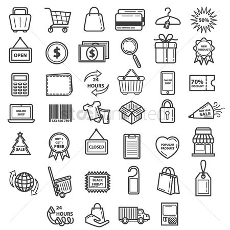 Linear : Collection of shopping icons