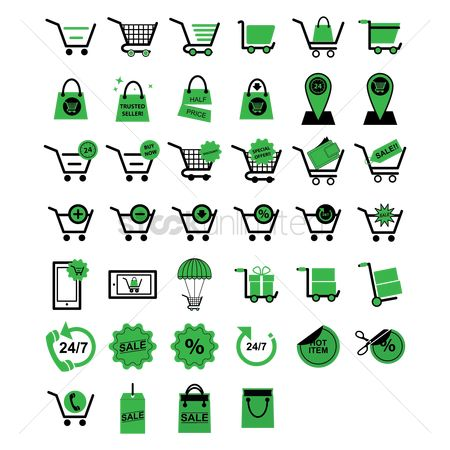 Delete : Collection of shopping icons