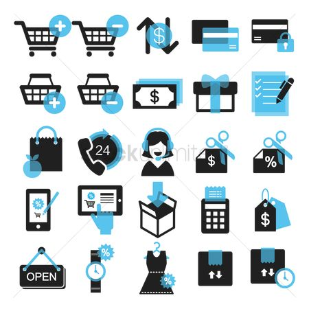 Plus : Collection of shopping icons