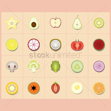 Apple : Collection of sliced vegetarian food