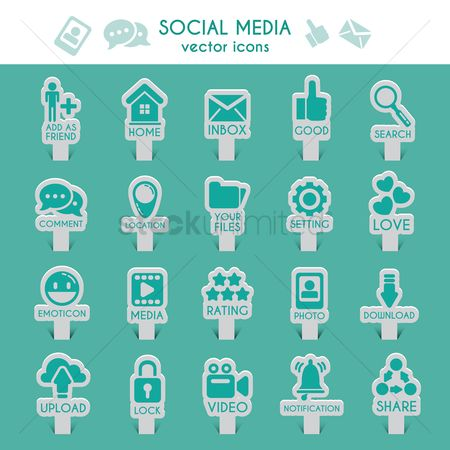 Magnifying : Collection of social media icons