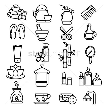 Coffee cups : Collection of spa icons