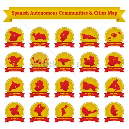 Valencia : Collection of spanish autonomous communities and cities map