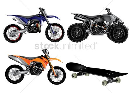 Skateboard : Collection of sport bikes and skateboard