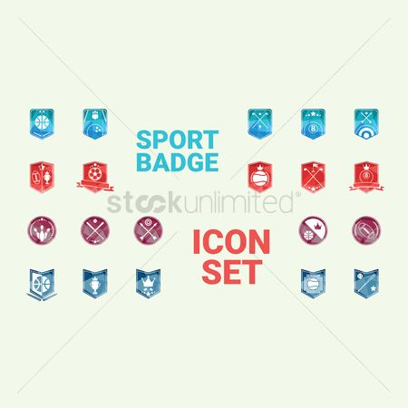 Archeries : Collection of sports badge icons