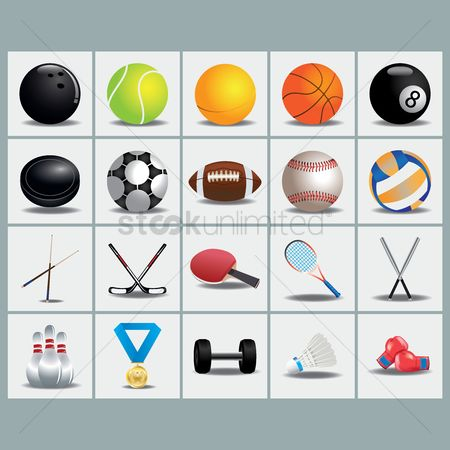 Baseball : Collection of sports equipment