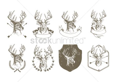 Head : Collection of stag heads emblem