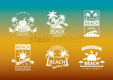 Drinking : Collection of summer beach holiday designs